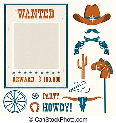 Wanted poster for cowboy party .Western cowboy objects for...