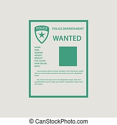 Wanted poster icon. Gray background with green. Vector...