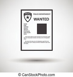 Wanted poster icon on gray background with round shadow....
