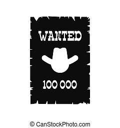 Wanted poster icon - Wanted poster black simple icon...
