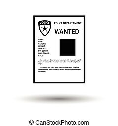 Wanted poster icon. White background with shadow design....