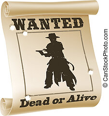 An illustration of a wanted poster with text %u201Cwanted dead or alive%u201D, cowboy silhouette and bullet holes
