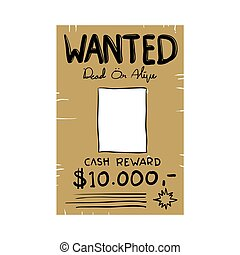wanted poster illustration vector doodle handdrawn style