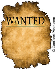 Wanted poster on a white background