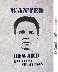 Wanted Poster - Poster on an exterior wall indicating a...