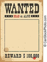 Wanted poster. Vector western illustration on white