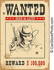 Wanted poster. Vector western illustration with bandit man and gun