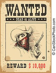 Wanted poster. Vector western illustration with bandit man in mask