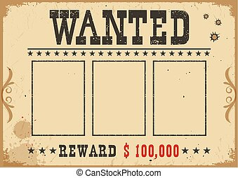Wanted poster. Vector western illustration with text and space for portraits