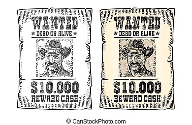 Wanted Poster With Man In Hat Vintage Engraving