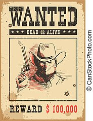 Wanted poster.Vector western illustration with bandit man in mask