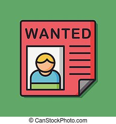 wanted prisoner vector icon