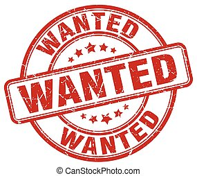 wanted red grunge round vintage rubber stamp