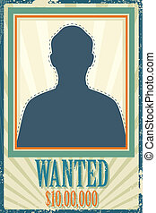 illustration of wanted retro poster with space for photo