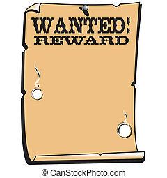 Wanted Reward Poster Western Sign - Wanted (dead or alive),...