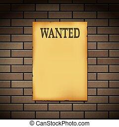 Wanted reward western poster on a brick wall.