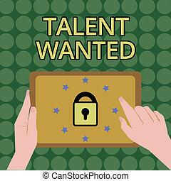 wanted., schrijvende , specifiek, vacature, werk, tekst, behoefte, concept, handschrift, verhuring, betekenis, vaardigheden, positie, talent