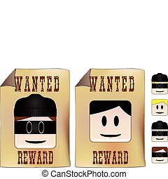 Wanted sign with alternative faces to be used as you prefer