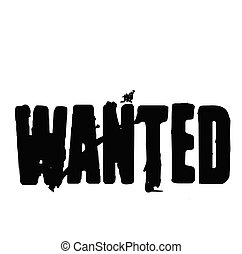 Wanted stamp on white
