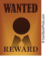 Wanted vintage poster illustration
