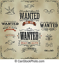 Wanted Vintage Western Banners - Illustration of a set of...