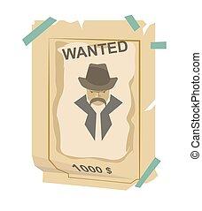 Wanted vintage western poster vector illustration. Grunge american banner