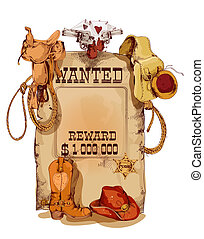 Old fashion wild west wanted reward vintage poster with horse saddle revolver cowboy backpack sketch abstract vector illustration