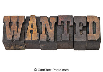 wanted - isolated word in vintage letterpress wood type - French Clarendon font popular in western movies and memorabilia
