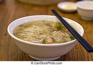 Wanton Dumpling Soup Noodles at Singapore Hawker Stall