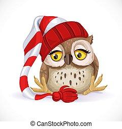 wants, かわいい, 帽子, 睡眠, owlet, 座る