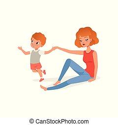 wants, ストレス, 関係, 彼女, 疲れた, 概念, 母, イラスト, 息子, 子育て, ベクトル, 親, 背景, ∥間に∥, 白, プレーしなさい, 子供