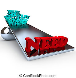 wants, -, behoeftes, evenwicht, vs