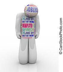 wants, desempleados, desempleado, triste, persona, trabajo, ...
