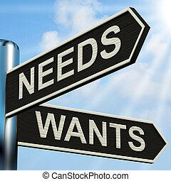wants, deseo, necesidades, medios, poste indicador, necesidad