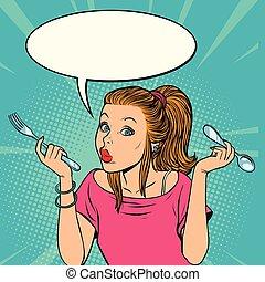 wants, femme, manger