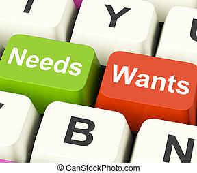 wants, nécessités, besoins, exposition, clés, voeux