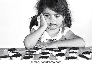 wants, pequeno, lotes, biscoitos, chocolate, menina, comer