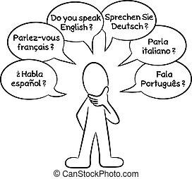 wants, quel, langues, savoir, vous, homme, parler