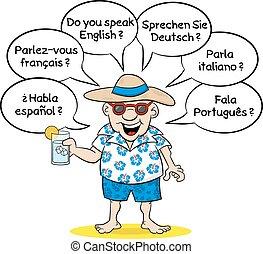 wants, quel, touriste, langues, savoir, vous, parler