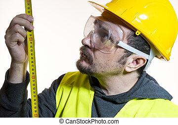 wants, sisak, tudás, oltalmazó, experience., építő, munka, azt, sárga, kívül, magad, elindít, szerkesztés, öltözött, hajlandó, szemüveg, ember