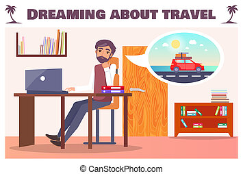 wants, sur, ouvrier, voyage, rêver, voyage, route