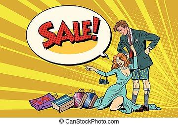 wants, vrouw, verwoest, verkoop, zonder, echtgenoot, broek