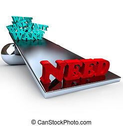 wants, vs, necessidades, -, equilíbrio