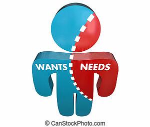 Wants Vs Needs Person Desires Demands Survey 3d Illustration