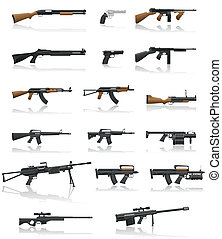 wapen, set, geweer, verzameling, iconen