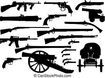 wapen, set, vuurwapen