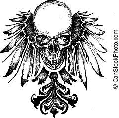 wapenkunde, schedel, illustratie