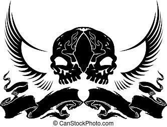 wapenkunde, vleugel, schedel