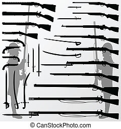 wapens, boordgeschut, oud, jacht, ouderwetse , messen, ...