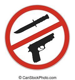 wapens, meldingsbord, vector, nee, toegestaan